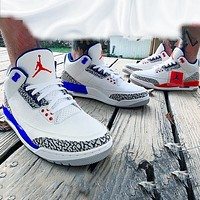elainse29 NIKE Air Jordan 3 Retro AJ3 white cement blue crystal bottom basketball shoes blue white