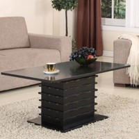 King's Brand T26-2 Wood Wave Design Cocktail Coffee Table, Black Finish
