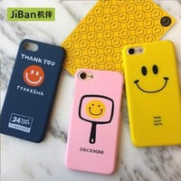 JiBan Simple smiley face for iphone 7 7plus case mobile phone shell 5s Drop frosted hard shell  for iphone 6 6s plus cases