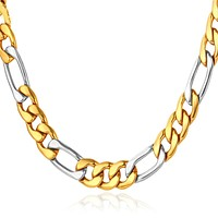 Two Tone Stainless Steel Figaro Chain