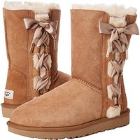 UGG Newest Popular Women Side Bowknot Bandage Leather Shoes Boots Winter In Tube Boots Shoes Chestnut