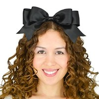 Sweet in the City Black Satin Ribbon Alice in Wonderland Inspired Headband Hair Bow Double Layered Big Large Oversize Statement Unique Fashion Accessories