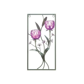 Candle Wall Sconces Magenta Flower Two Candle Wall Sconce