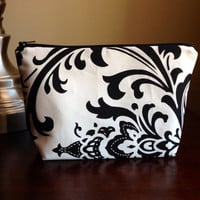 Makeup bag, cosmetic case, zipper pouch, clutch - Black and White Damask
