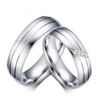 Meaeguet Fashion Wedding Rings Stainless Steel Rings For Women And Men Promise Ring Cubic Zirconia Couple Jewelry