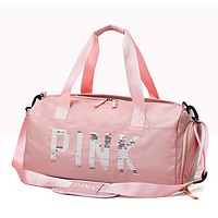 Victoria Pink Fashion New Sequin Letter Women Men Shopping Leisure Shoulder Bag Handbag Pink