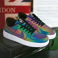 Nike Air foerce 1 AF1 Shining and discoloring low-top mens and womens sneakers Shoes