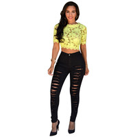 Women Jeans Casual High Street High Waist Ripped Slim Knee Hole Pencil Denim Pants Trousers IMY66