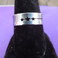 Ring with 3 Star Symbols, Stainless Steel w/ Gift Box, Size 10, Silver Color, Great Gift, Vintage Jewelry with Free Shipping in USA