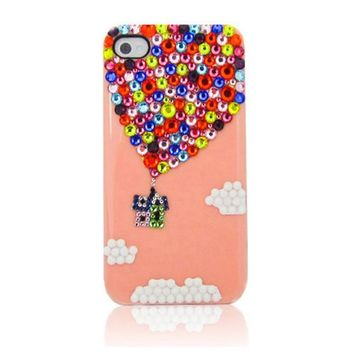 Up Colorful Rhinestone Handmade Case For iPhone 5/5s Pink