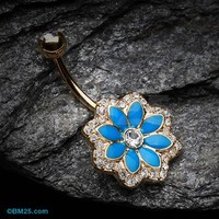 Golden Azure Lotus Flower Belly Button Ring