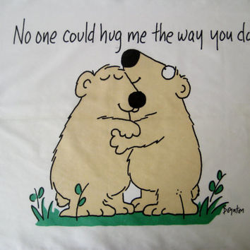 Vintage Sandra Boynton Bear Pillowcase No One Could Hug Me The Way You Do Kids Bedding USED Clean 1989 Martex