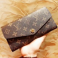 Louis Vuitton LV Fashion New Monogram Print Leather Wallet Clutch Bag Women Purse