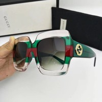 New Authentic Gucci Sunglasses GG178S Women's Transparent Green Oversized Square