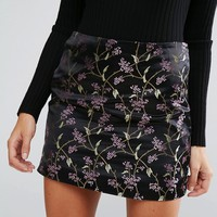 Brave Soul Mini Brocade Print Skirt at asos.com