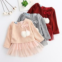 Little Girl's Dress Long Sleeve Bow With Pom Poms Sparkle Tulle