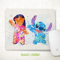 Disney Lilo and Stitch Watercolor Mouse Pad - Watercolor Painting - Mousepad - Disney Accessories - Gifts - Office Decor, Desk Decor - P189