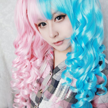 Cotton candy wig 70cm/60cm Long Pink and Blue Mixed Kawaill lolita fashion Beautiful wig cosplay Anime Wig,Colorful Candy Colored synthetic Hair Extension Hair piece 1pcs WIG-221A