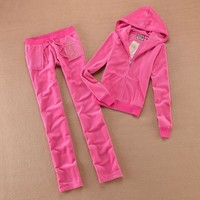 Juicy Couture Studded Luxurious Jc Velour Tracksuit 8606 2pcs Women Suits Rose