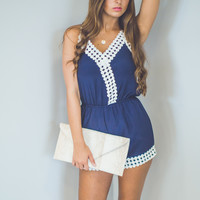 Embroidered Romper in Navy