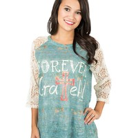 Daisy Rea Women's Patina with Forever Grateful Screen Print and Cream Lace 3/4 Sleeves Casual Knit Top