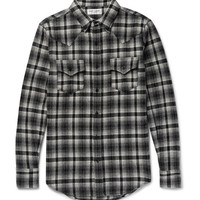 Saint Laurent - Slim-Fit Checked Wool-Blend Flannel Western Shirt
