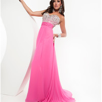 Jasz Couture 2013 Prom - Pink Sweetheart Silver Jeweled Gown - Unique Vintage - Cocktail, Pinup, Holiday & Prom Dresses.