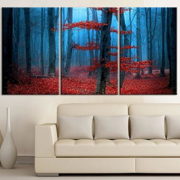 Large Wall Art Blue Forest and Red Leaves Autumn Canvas Print Contemporary 3 Panel Triptych Red