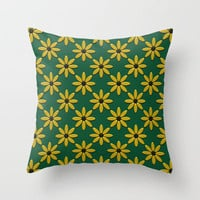 Daisies on Green Field Throw Pillow by Lyle Hatch | Society6