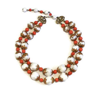 Deauville Double Strand Bead Necklace, Coral And White Beads With Gold Tone Accents