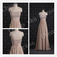 Hot Selling A-line Sweetheart Chiffon Sexy Zipper Beads Long Bridesmaid Dress Party Dress Evening Dress Prom Dress Formal Dress 2014