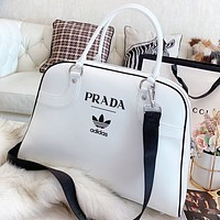 Hipgirls Prada & Adidas Fashion new letter leather handbag shoulder bag crossbody bag White