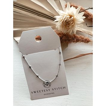 Multi Cross Charm Necklace - Silver