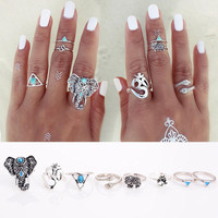 8 Piece Bohemian Turkish Knuckle Rings For Trendy Women