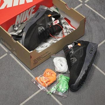 OFF White x Nike Air Max 90 OW Black AA7293-002 Sport Running Shoes