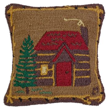 "Cabin In The Woods Hooked Wool Pillow 18""L × 18""W"