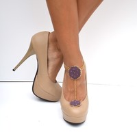 Purple gold shoe jewelry and anklet with gold chain