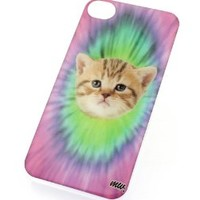 CLEAR Snap On Case IPHONE 4 4S Plastic Cover - THAT 70'S CAT tie dye hipster feline cute animal lover colorful rainbow