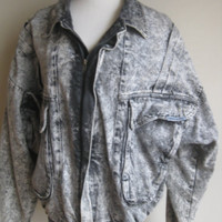 Power Sergio Valente Vintage Hipster Indie Rocker Acid Washed Jean Jacket Coat