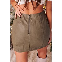 Lesson Learned Faux Leather Mini Skirt (Mocha Grey)