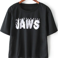 Black Short Sleeve JAWS Graphic Print Crop Shirt