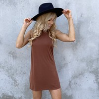 Hazelnut Jersey Tee Shirt Dress