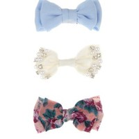 3 Pack Blue Floral and Cream Bow Clips