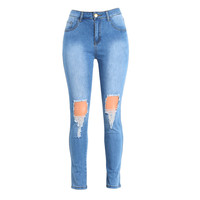 Sexy High Waist Ripped Jeans Woman Destroyed Frayed Hole Mom Jeans Zipper Fly Skinny Denim Pants Pencil Trousers Plus Size