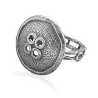 CleverSilver's Oxidized Button Design Sterling Silver Ring