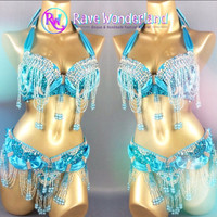 IG: Turquoise Carnival Inspired Bra and Belt Set