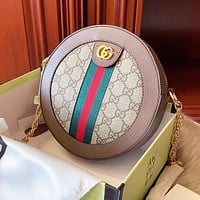 GUCCI High Quality Women Leather Circular Shoulder Bag Crossbody Satchel