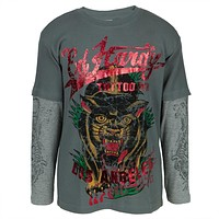 Ed Hardy - Panther In Grass Youth 2fer Long Sleeve T-Shirt