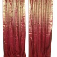 Mogulinterior 2 Red Maroon Gold Brocade Indian Silk Sari Curtains Drapes Window Treatment