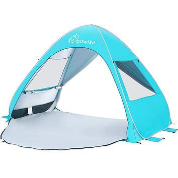 WolfWise UPF 50+ Easy Pop Up Beach Tent Sun Shelter Instant Automatic Portable Sport Umbrella Indoor Playhouse Baby Canopy Cabana Blue Large